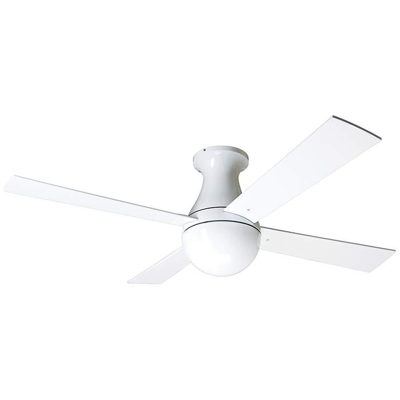 "42"" Modern Fan Ball Hugger Gloss White Ceiling Fan"
