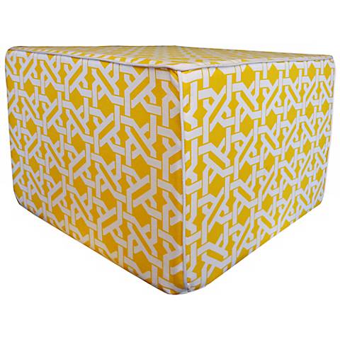 Istanbul Weave Square Yellow Ottoman