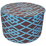 Point Round Brown and Blue Ottoman