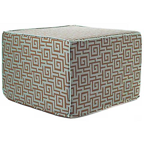 Puzzle Outdoor Square Blue and Brown Ottoman
