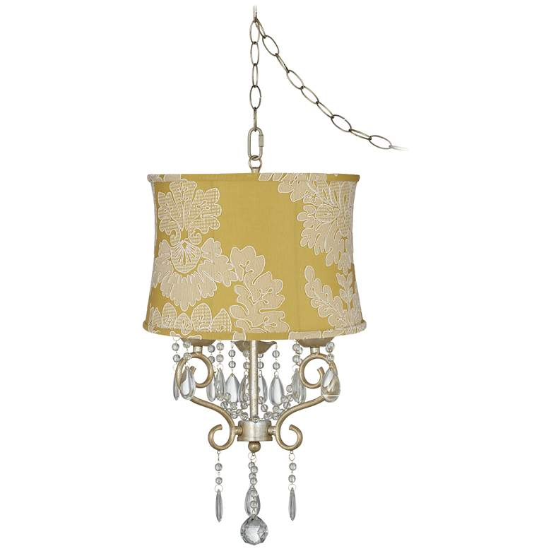 "Conti 16"" Wide Mini Swag Chandelier with Yellow Floral Shade"