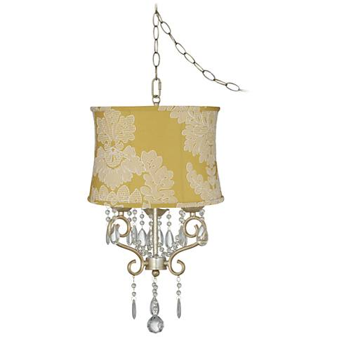 """Conti 16"""" Wide Mini Swag Chandelier with Yellow Floral Shade"""