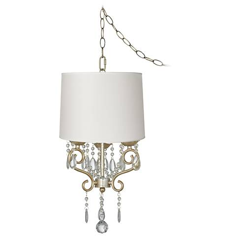 """Conti 14"""" Wide Mini Swag Chandelier with White Drum Shade"""