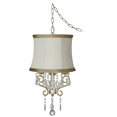 "Conti 16"" Wide Mini Swag Chandelier with Ivory Taupe Shade"