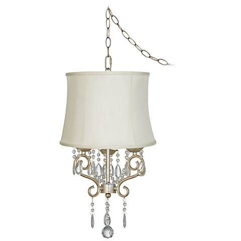 "Conti 16"" Wide Mini Swag Chandelier with Creme Drum Shade"