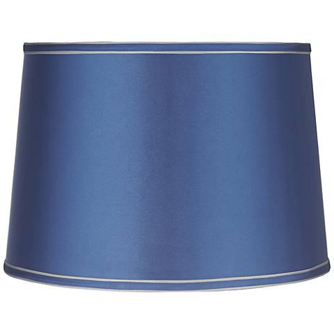 Sydnee Satin Medium Blue Drum Lamp Shade 14x16x11 (Spider)