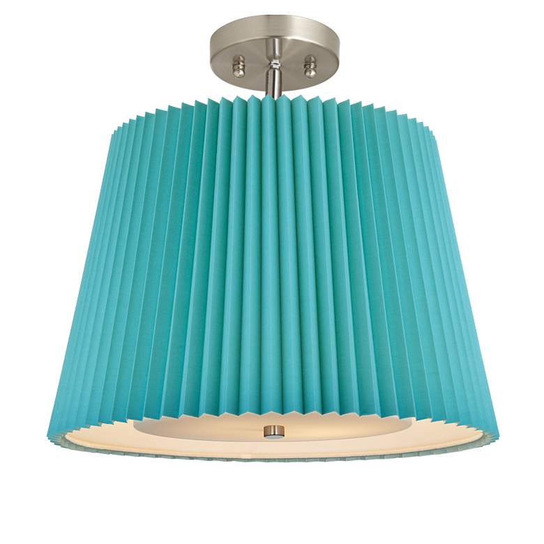 """Turquoise Pleat 16"""" Wide Brushed Steel Ceiling Light"""