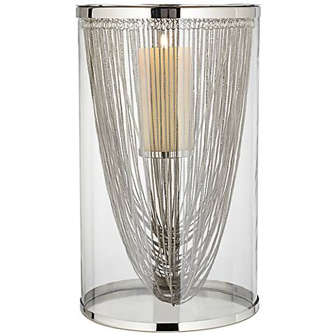 Rojo Stainless Medium Glass Hurricane Candle Holder