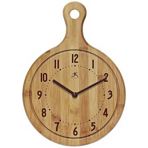 Bon Appetit! Butcher Block Bamboo Kitchen Wall Clock