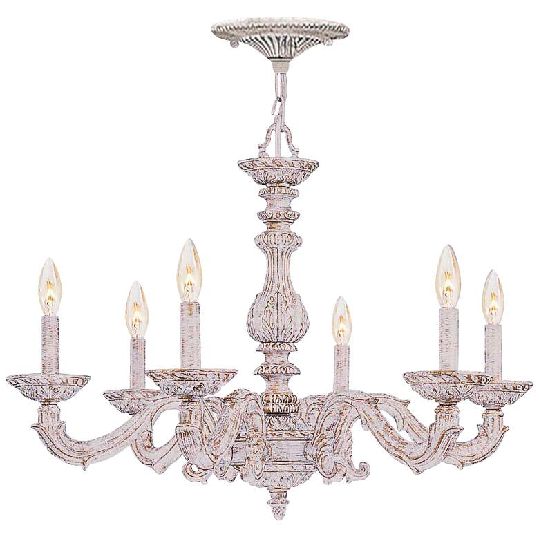 """Sutton 28"""" Wide Antique White and Gold Chandelier"""