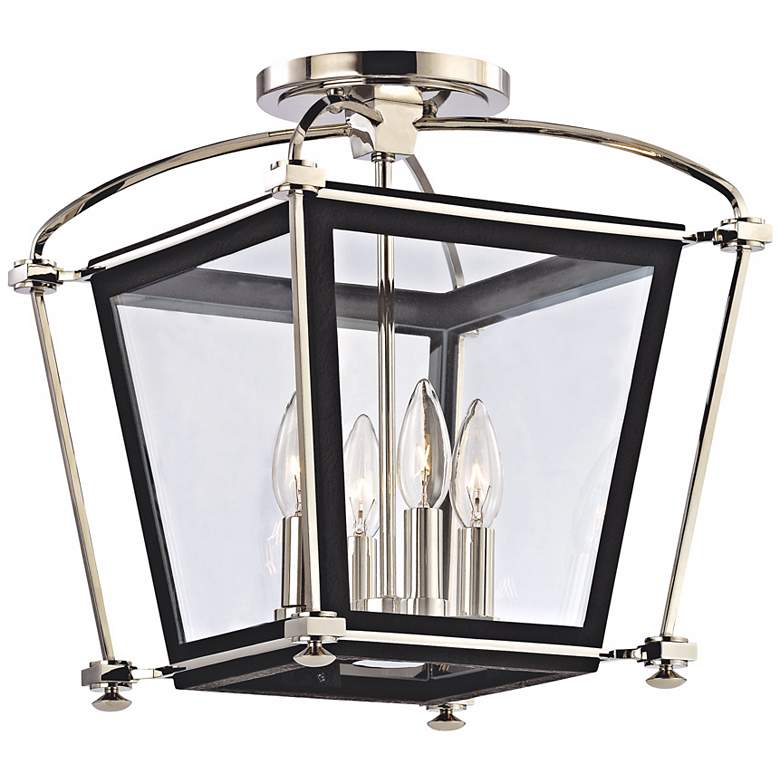 "Hollis 14 3/4"" High Polished Nickel Ceiling Light"