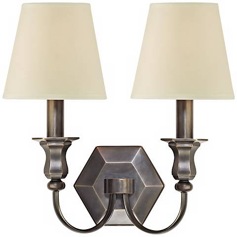 """Charlotte 14"""" High 2-Light Old Bronze Wall Sconce"""