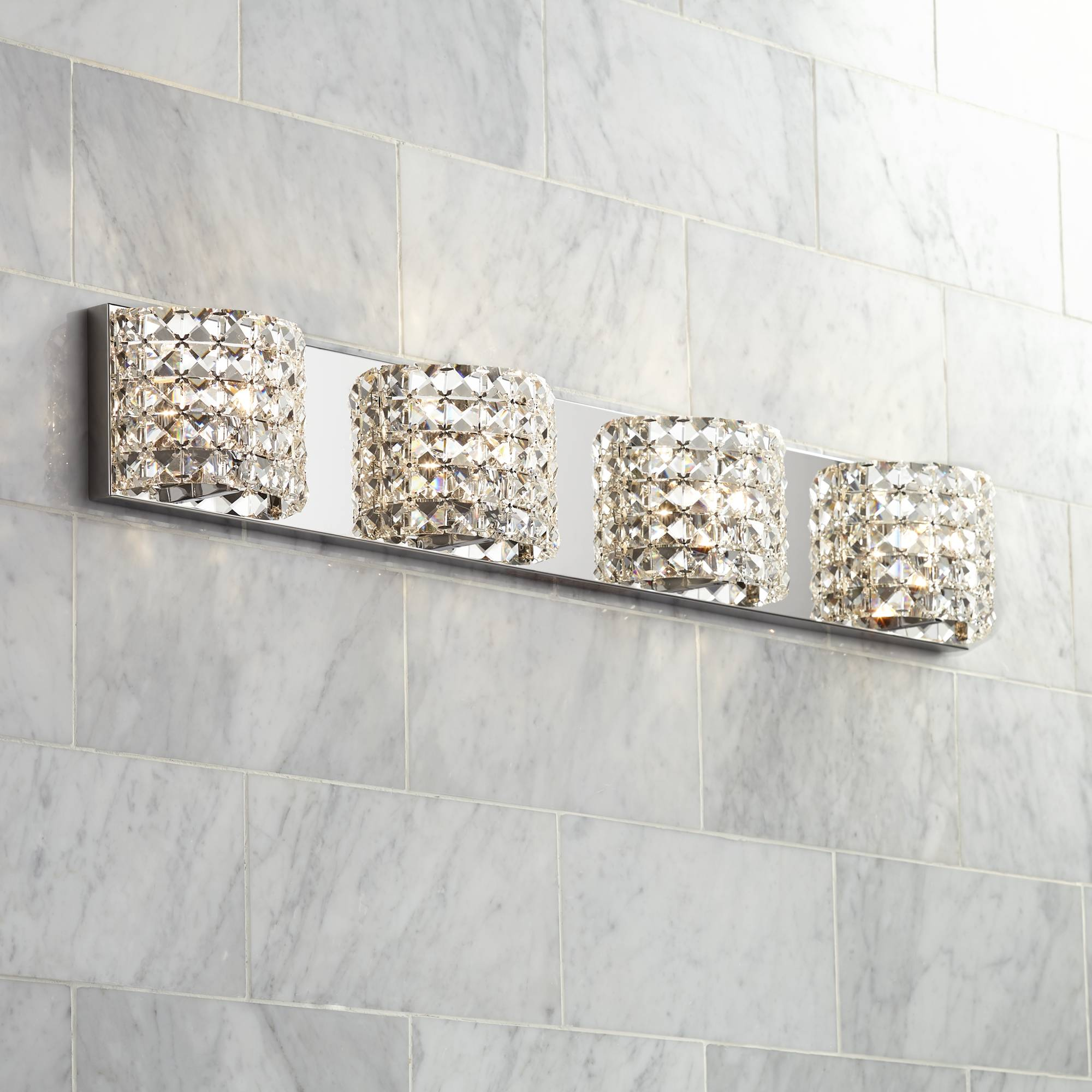 Details About Modern Wall Light Chrome 35 1 2 4 Fixture Crystal Bathroom Vanity