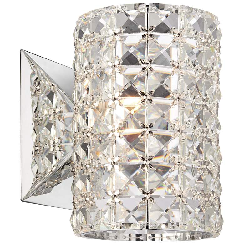 "Cesenna 6 1/2"" High Crystal Cylinder Wall Sconce"