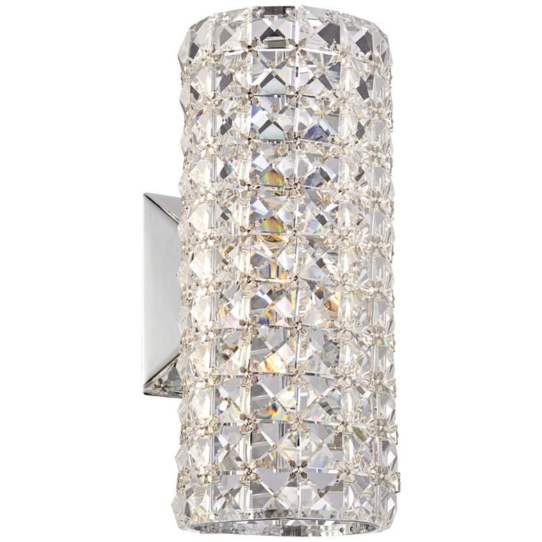 "Cesenna 10 1/4"" High Crystal Cylinder Wall Sconce"
