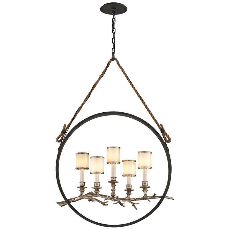 """Drift 26"""" Wide Bronze and Silver Leaf 5-Light Pendant"""