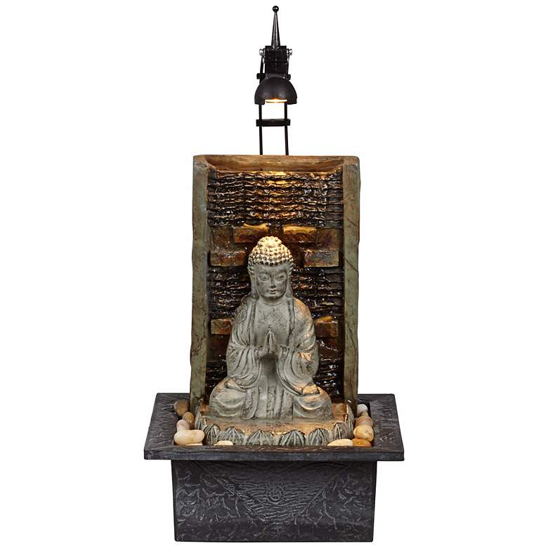 "Namaste Buddha 11 1/2"" H. LED Indoor Table Fountain"