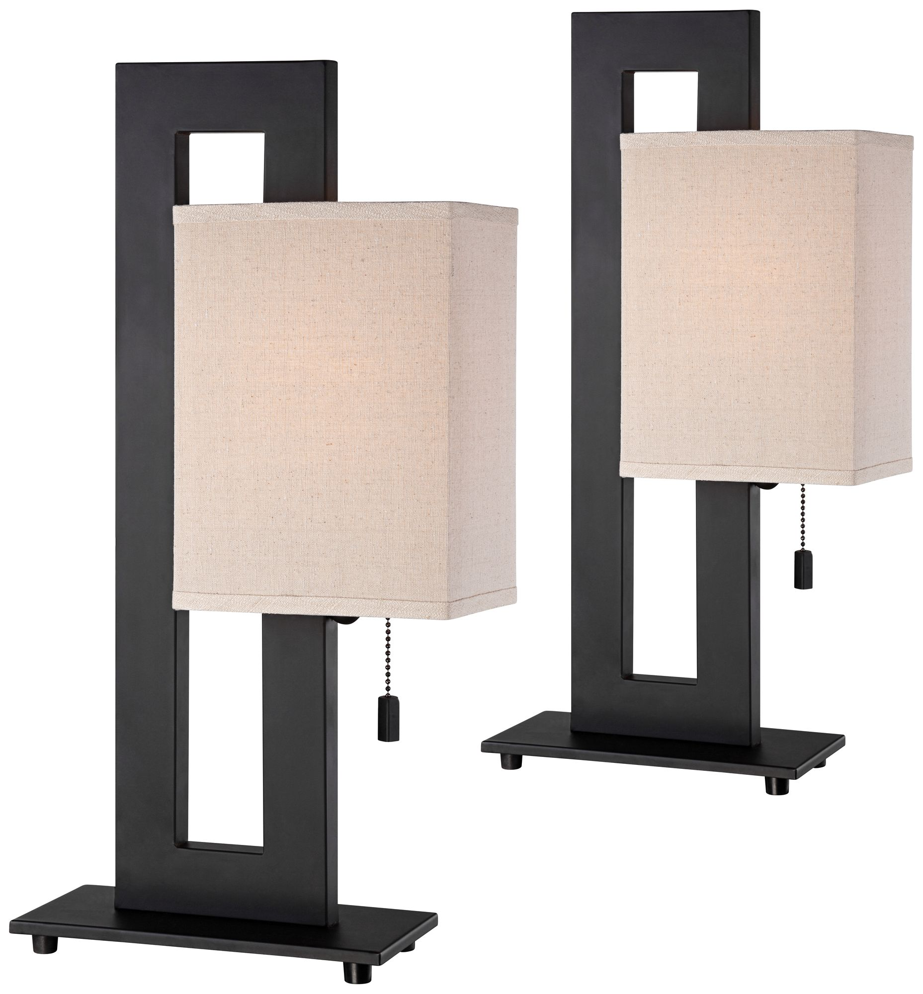 Nice Espresso Bronze Floating Square Accent Table Lamp Set Of 2