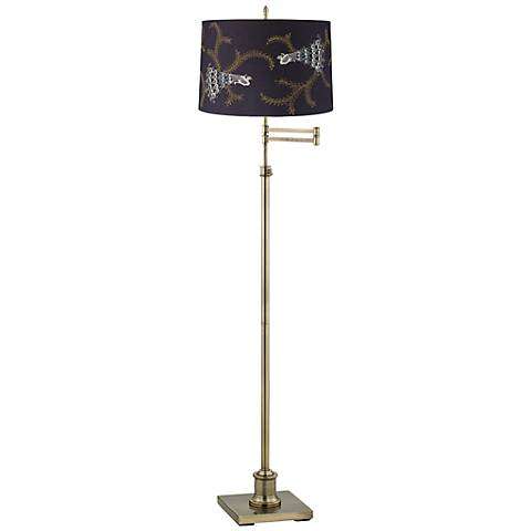 Westbury Embroidered Peacock Brass Swing Arm Floor Lamp