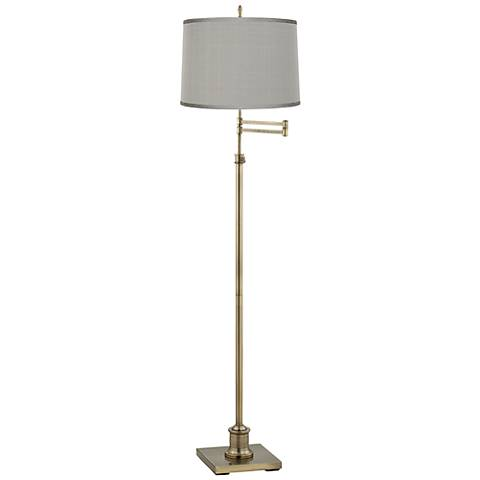 Westbury Platinum Gray Shade Brass Swing Arm Floor Lamp