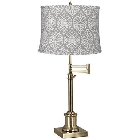 Westbury Guizhou Gray Shade Brass Swing Arm Desk Lamp