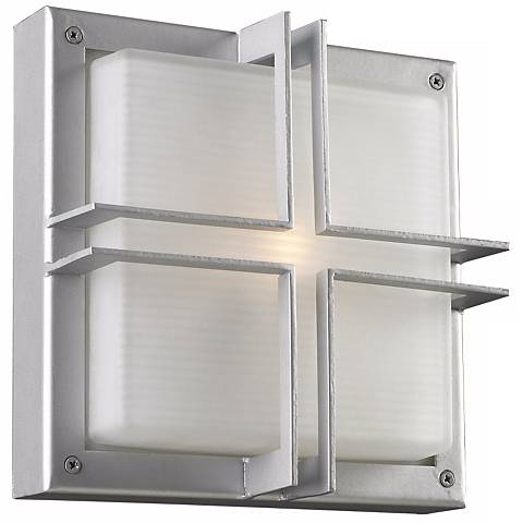 "Piccolo 10"" Square Silver Outdoor Wall Light"