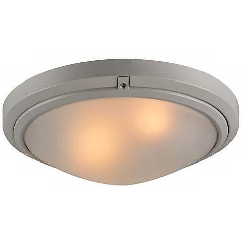 """Ricci II Collection 16"""" Wide Silver Outdoor Ceiling Light"""