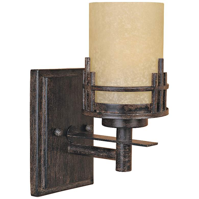"""Mission Ridge 10 1/2"""" High Goldenrod Glass Wall Sconce"""