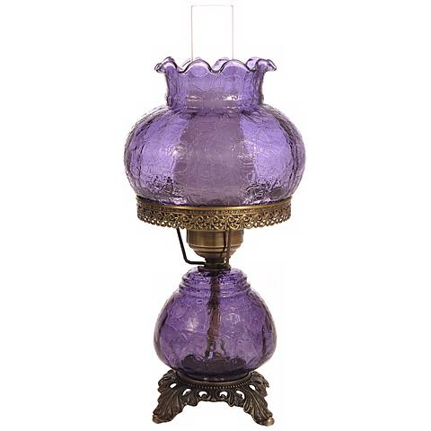 Grape Crackle Night Light Hurricane Accent Table Lamp