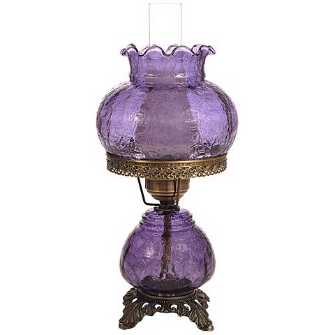 Violet Crackle Night Light Hurricane Table Lamp