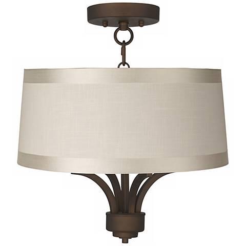 "Fortuna Bronze 16"" Wide Off-White Drum Ceiling Light"
