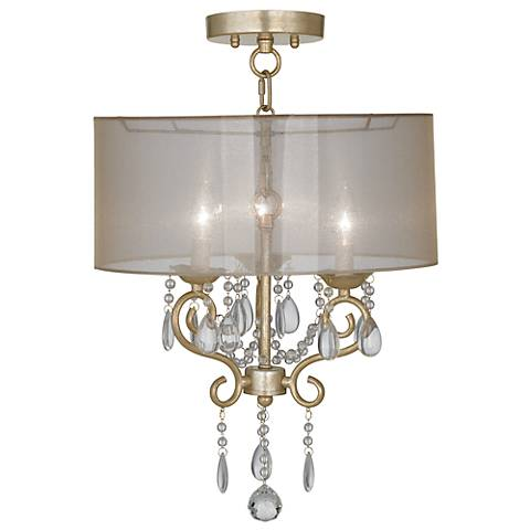 "Conti 16"" Wide Ceiling Light with Sheer Gold Shade"
