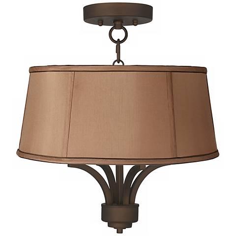 "Fortuna Bronze 16"" Wide Biscuit Brown Ceiling Light"
