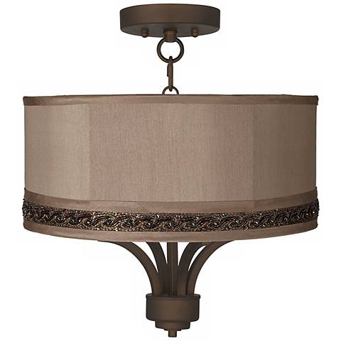 "Fortuna Bronze 16"" Wide Morell Silver Ceiling Light"