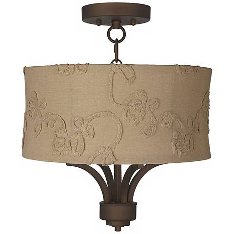 "Fortuna Bronze 15"" Wide Berkley Beige Ceiling Light"