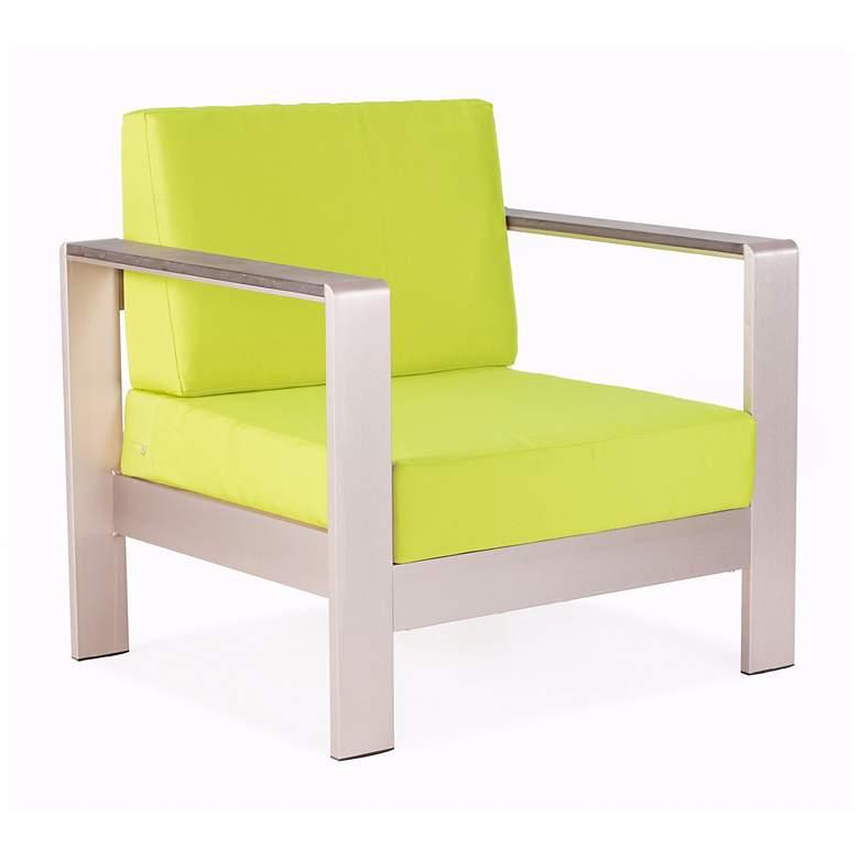 Zuo Cosmopolitan Green Cushion Brushed Steel Outdoor Armchair