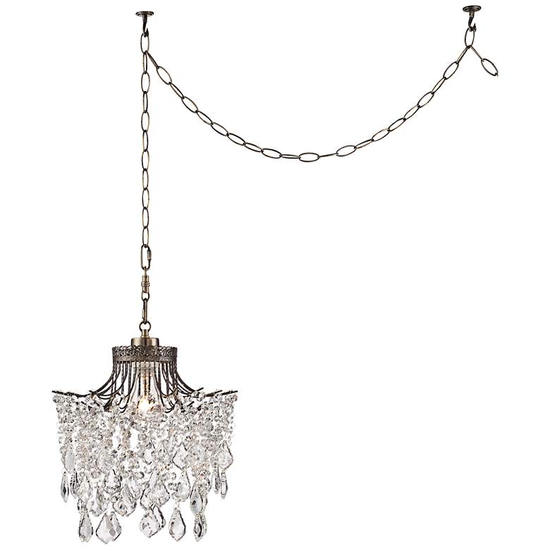 """Brielle Antique Brass 12"""" Wide Crystal Plug-In Swag Pendant"""