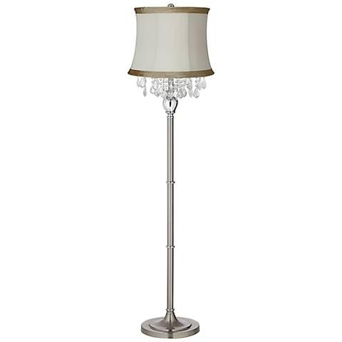 Crystals Ivory Linen Shade Satin Steel Floor Lamp