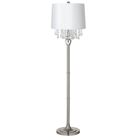 Crystals White Shade Satin Steel Floor Lamp