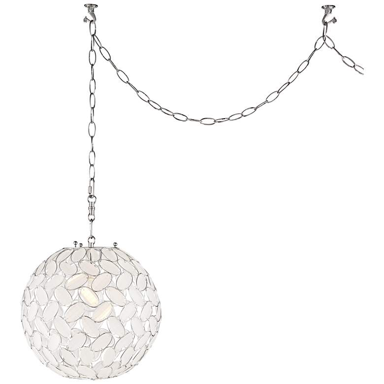 """Kaia Frosted Beads 12"""" Wide Chrome Plug-In Swag Pendant"""