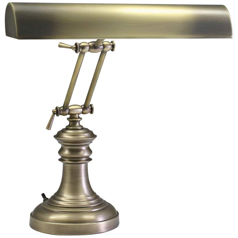 """House of Troy Round 16"""" High Antique Brass Piano Desk Lamp"""