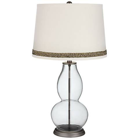 Clear Fillable Double Gourd Table Lamp with Wave Braid Trim