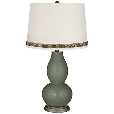 Deep Lichen Green Double Gourd Table Lamp with Wave Braid Trim