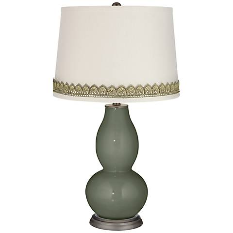 Deep Lichen Green Double Gourd Table Lamp with Scallop Lace Trim
