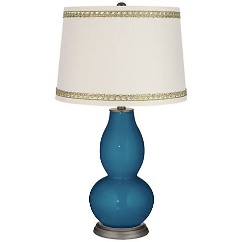 Bosporus Double Gourd Table Lamp with Rhinestone Lace Trim
