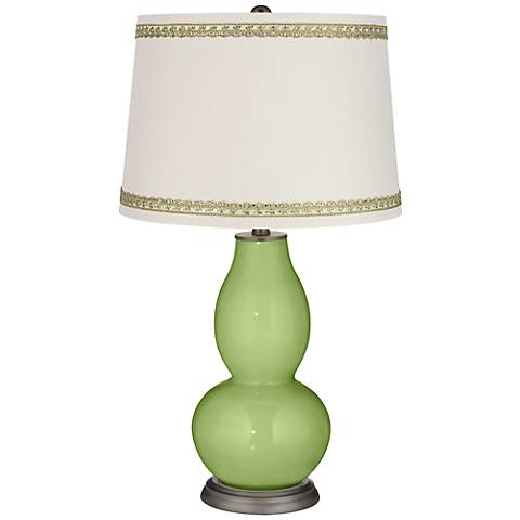 Lime Rickey Double Gourd Table Lamp with Rhinestone Lace Trim