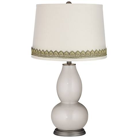 Silver Lining Metallic Double Gourd Lamp with Scallop Lace Trim