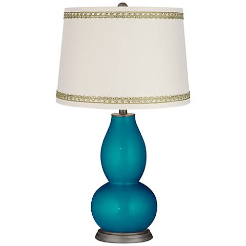 Turquoise Metallic Double Gourd Lamp with Rhinestone Lace Trim