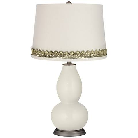 Vanilla Metallic Double Gourd Table Lamp with Scallop Lace Trim