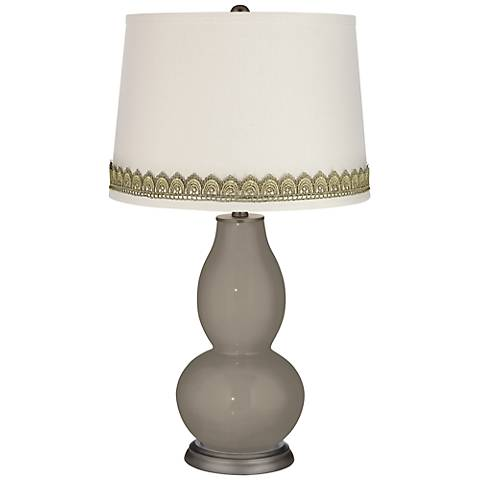 Backdrop Double Gourd Table Lamp with Scallop Lace Trim